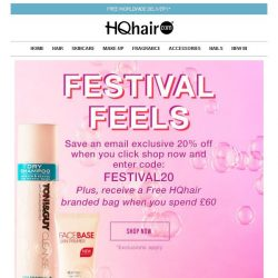 [HQhair] Festival Feels | Receive 20% off your order plus a FREE gift