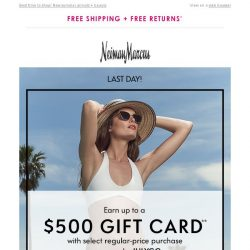 [Neiman Marcus] Ends today! $500 gift card offer