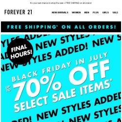 [FOREVER 21] ENDING SOON! Up to 70% off!