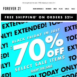 [FOREVER 21] 🎉 UP TO 70% OFF SALE EXTENDED 🎉