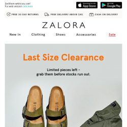 [Zalora] Going, going, GONE! Last sizes at clearance prices.