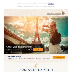 [Singapore Airlines] #FlySQ with fares starting from SGD148!