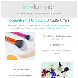 [The Hut] Lookfantastic Hong Kong Affiliate Weekend Offers