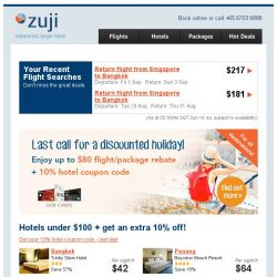 [Zuji] Hotels under $100 + extra 10% off!