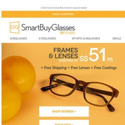 [SmartBuyGlasses] Need new glasses? Try 50% Off & Free Shipping on our Smartbuy Collection 👓