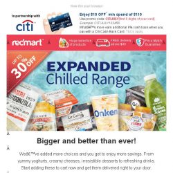 [Redmart] Save up to 30% - Bigger and better chilled range!