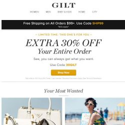 [Gilt] Extra 30% Off Starts Now + Prada Handbags: Up to 60% Off, Tracy Reese, Prabal Gurung and More Start Today at Noon ET