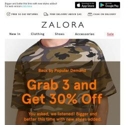 [Zalora] Triple Treat: Buy 3 for EXTRA 30% Off!