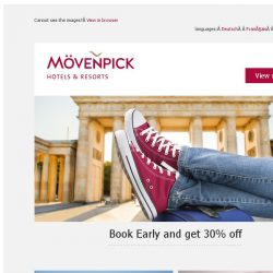 [Mövenpick Hotels & Resorts] Book Early and get 30% off