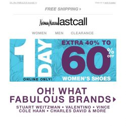 [Last Call] WOMEN'S SHOES extra 40%–60% off >> TODAY ONLY!
