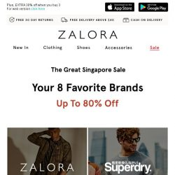[Zalora] The 8 hottest brands are now up to 80% off!