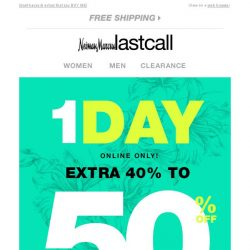 [Last Call] 1 DAY ONLY! Extra 40%–50% off bags, jewelry, accessories, & MORE
