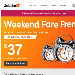 [Jetstar] 🕗 All-in Frenzy Fares to Hong Kong, Bangkok and more! Travel from August to November!