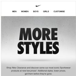 [Nike] Nike Clearance: Additional Styles at Lower Prices