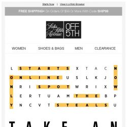[Saks OFF 5th] Want an EXTRA 20% OFF? Use THIS code...