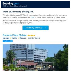 [Booking.com] Ramada Plaza Melaka – are you still interested in staying?