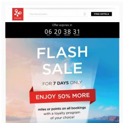[Kaligo] FLASH SALE: Earn 50% more Miles on every booking!