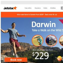 [Jetstar] 🌄 Ready for an outback adventure? Darwin sale now on!