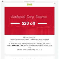 [CaterSpot] Celebrate National Day with $20 off your orders this week