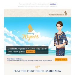 [Singapore Airlines] Celebrate SIA 70th anniversary on singaporeairgames.com
