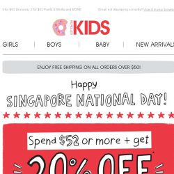 [Cotton On] Celebrate Singapore National Day with 20% OFF when you spend $52!