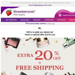 [StrawberryNet] , You are Invited to enjoy Extra 20% Off + Free Shipping. Get it now!