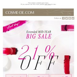 [COSME-DE.com] LAST DAY! Save UP TO 21% Off!
