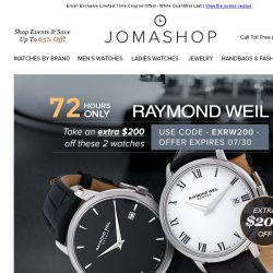 [Jomashop] 72 HOURS: Raymond Weil $260 Shipped • Invicta Chronograph $59.99 - 2 Styles!
