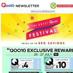 [Qoo10] The Great Qoo10 Festival! Save Up to 80% Off! Only at Qoo10! Grab Them All Now!