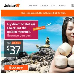 [Jetstar] ✈ New Route Launch to Hat Yai! Irresistible sale fares from $37 only.