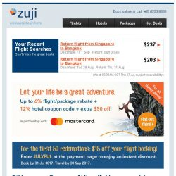 [Zuji] Don't miss out! Singapore Airlines sale + $15 coupon code.