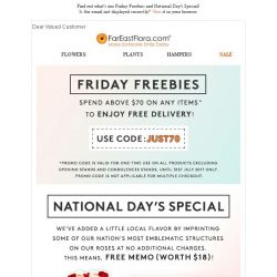 [FarEastFlora] FRIDAY FREEBIES - Get promo code inside this email to shop online now!