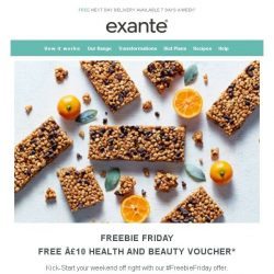 [Exante Diet] Freebie Friday | 50% off + FREE £10 Health & Beauty Voucher...