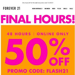 [FOREVER 21] 50% off flash sale is almost OVER!!