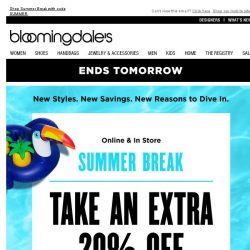 [Bloomingdales] Ends Tomorrow! Take an Extra 20% Off Now