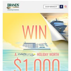 [Brand's] ☀Ready to win a cruise trip worth $1,000?🚢
