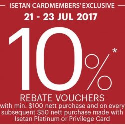 Isetan: Enjoy 10% Rebate Voucher with Storewide Purchases Including from Isetan Supermarket!