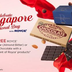 [Royce'] Celebrate Singapore National Day with ROYCE' Spend $20 worth of Royce' products and get a FREE Chocolate Bar (Almond Bitter)