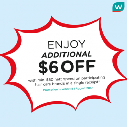 [Watsons Singapore] Enjoy ADDITIONAL $6 OFF with a min.