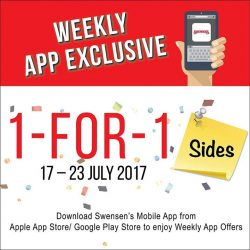 [Swensen's] Start off your feast with our 1 for 1 Sides offer, valid from now till 23 July.