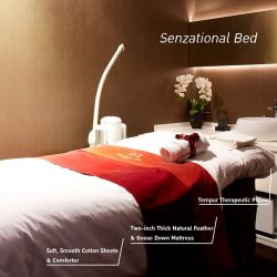 [SK-II Boutique Spa] Our cult favorite Senzational Bed comprise of a two-inch thick natural feather and goose down mattress, and Tempur therapeutic