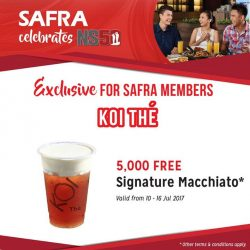 [KOI Café Singapore] In celebration of NS50 and SAF Day, SAFRA is giving out 5,000 cups of free KOI ^Signature Macchiato!