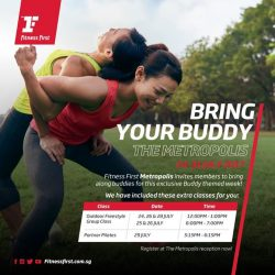 [Fitness First] BUDDY UP: Pair up with your exercise buddy and join us for exclusive Buddy-themed classes next week from 24 -