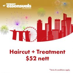 [Essensuals Hairdressing] In celebration of Singapore's 52nd birthday, we're offering Haircut + Treatment at $52 by our Senior Stylist!