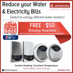 [Ariston] Get your *FREE grocery voucher with purchase of Ariston water heater.