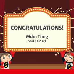 """[OCBC ATM] Congratulations to Mdm Thng, the winner of a Toys""""R""""Us shopping spree!"""