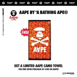 [Chocoolate --- i.t Labels Singapore] Get a limited edition AAPE camo towel for FREE when you make a purchase of $380 and above.