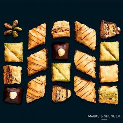 [Marks & Spencer] Widely enjoyed in Eastern Mediterranean countries, Baklavas are sweets made with layers of filo pastry and nuts, and then drenched