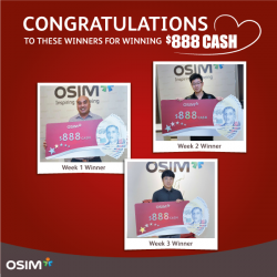 [OSIM] Congratulations to the first 3 winners of $888 cash in OSIM's SURE-WIN NDP-linko!