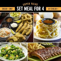 [Tony Roma's] For a limited time only, enjoy a scrumptious set meal for four people for lunch or dinner at only $98.